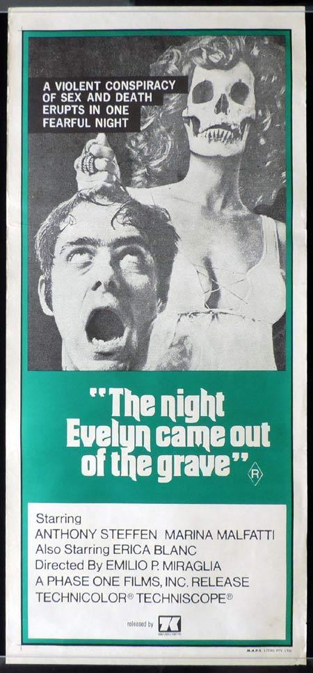 THE NIGHT EVELYN CAME OUT OF THE GRAVE Original Daybill Movie Poster Horror