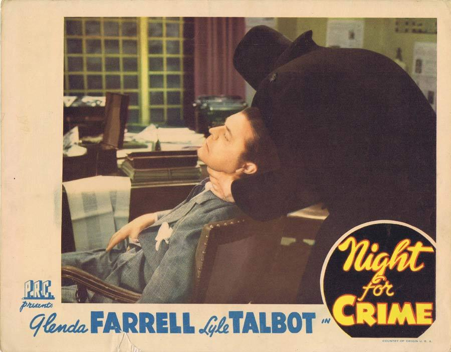 NIGHT FOR CRIME Lobby Card 2 Lyle Talbot Glenda Farrell