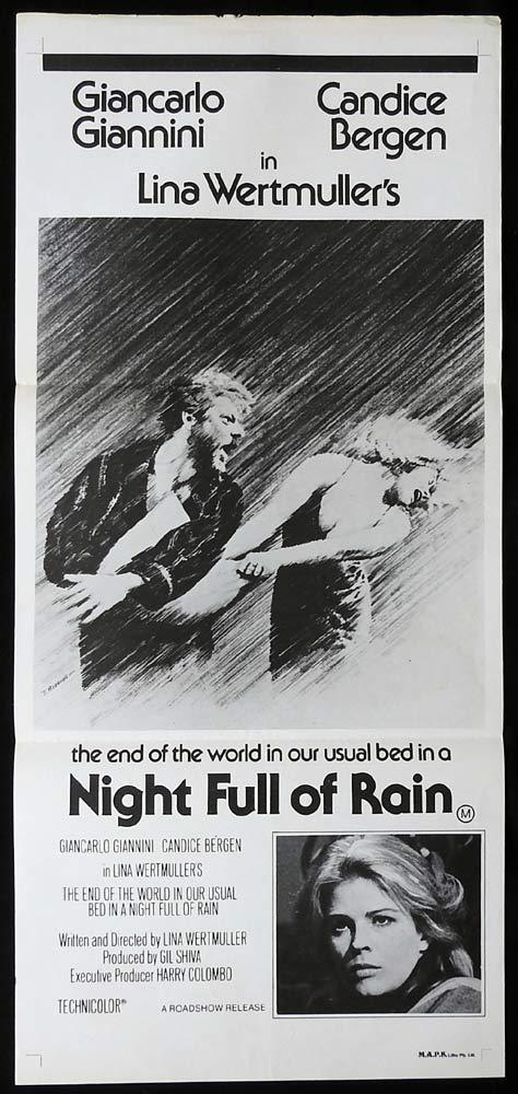 NIGHT FULL OF RAIN Original Daybill Movie Poster Giancarlo Giannini Candice Bergen