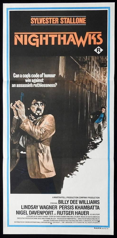 NIGHTHAWKS Original Daybill Movie Poster Sylvester Stallone Lindsey Wagner