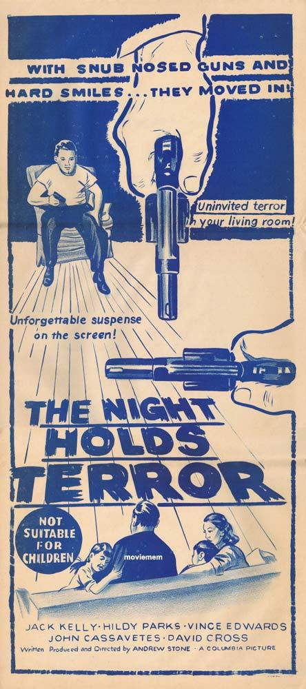 THE NIGHT HOLDS TERROR Original Daybill Movie poster Jack Kelly Film Noir
