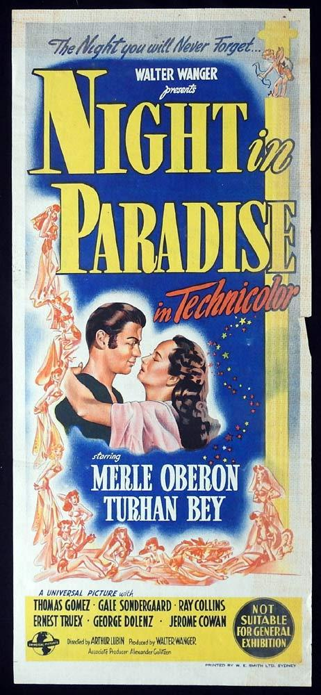 NIGHT IN PARADISE Original Daybill Movie poster Merle Oberon Gale Sondergaard
