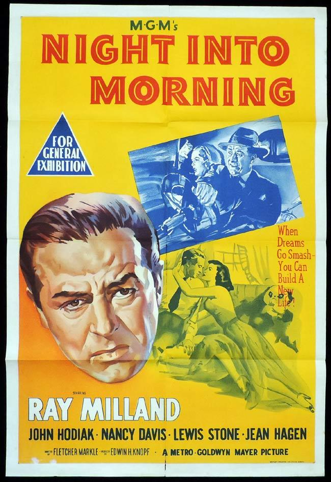 NIGHT INTO MORNING Original One sheet Movie Poster Ray Milland John Hodiak Nancy Davis Reagan