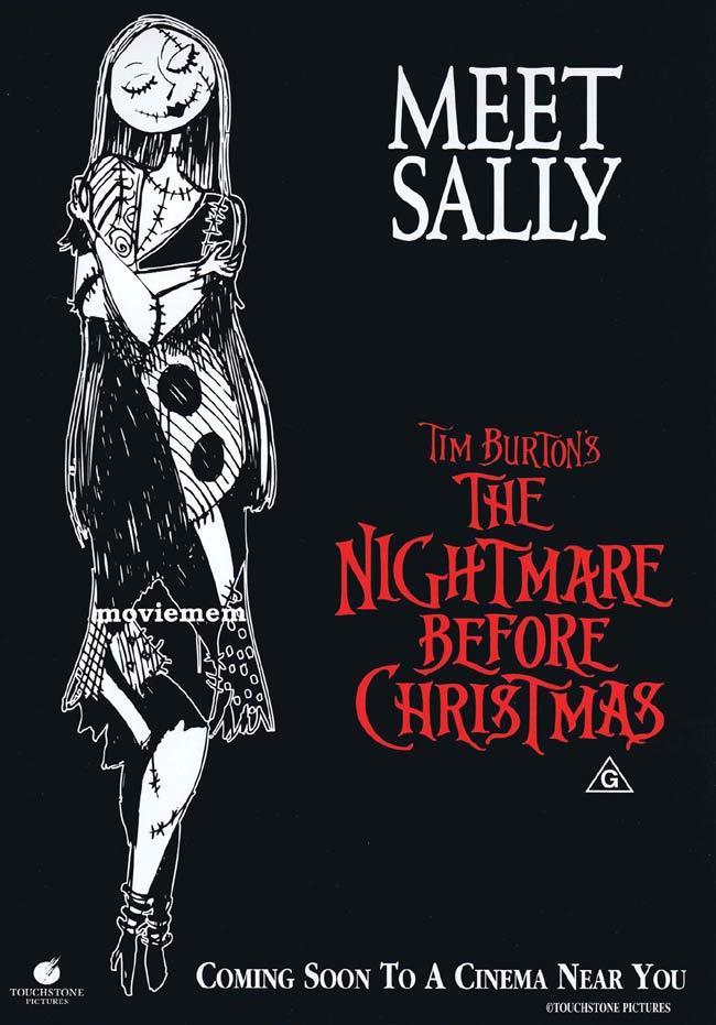 THE NIGHTMARE BEFORE CHRISTMAS Original ADVANCE daybill poster Tim Burton