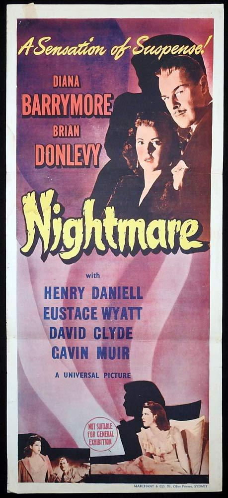 NIGHTMARE Original Daybill Movie poster Diana Barrymore Brian Donlevy