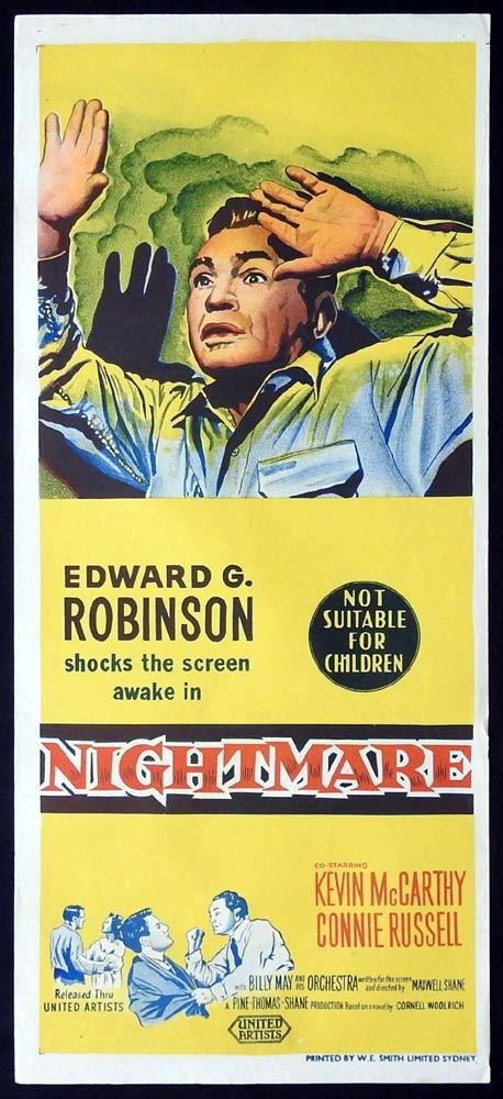 NIGHTMARE Rare Original Daybill Movie Poster EDWARD G.ROBINSON Kevin McCarthy
