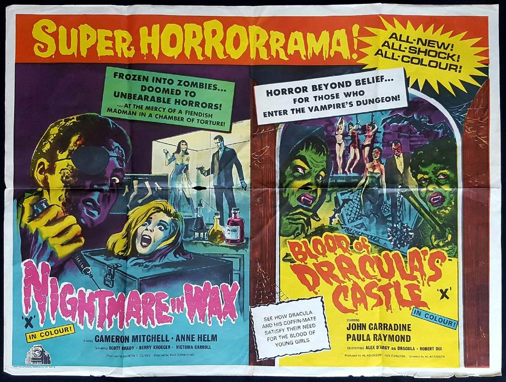 NIGHTMARE IN WAX plus BLOOD OF DRACULA'S CASTLE British Quad Movie poster HAMMER Double Bill