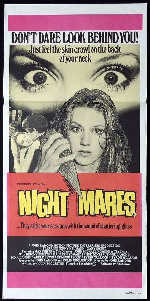 NIGHTMARES Daybill Movie Poster SLASHER John Lamond Rare Daybill