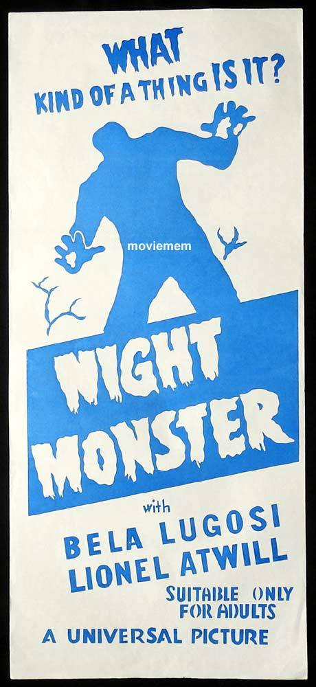 NIGHT MONSTER Original 50sr Daybill Movie Poster Bela Lugosi Universal Horror Lionel Atwill