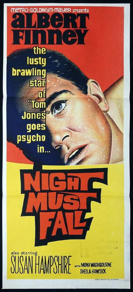 NIGHT MUST FALL Original Daybill Movie Poster Albert Finney Mona Washbourne