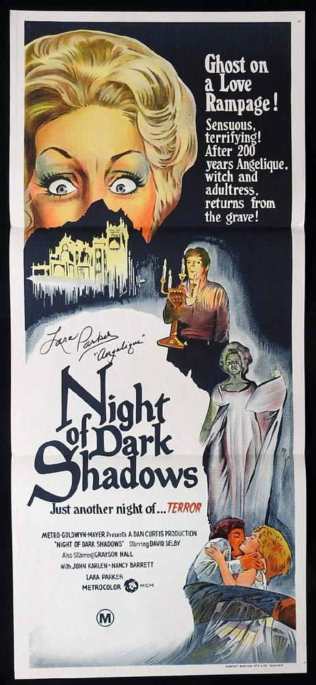 NIGHT OF DARK SHADOWS Original Daybill Movie poster AUTOGRAPHED by Lara Parker