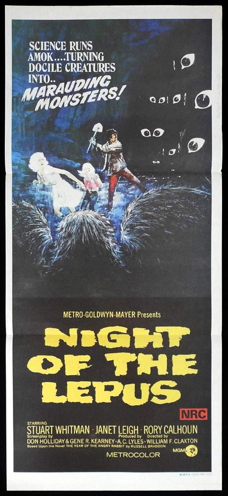 NIGHT OF THE LEPUS Original Daybill Movie Poster Herbert Lom Udo Kier Horror