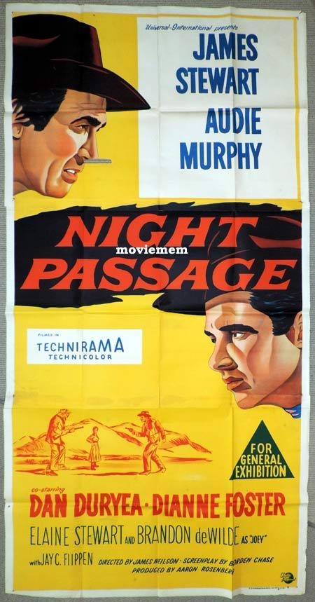 NIGHT PASSAGE Original 3 Sheet Movie Poster James Stewart Audie Murphy