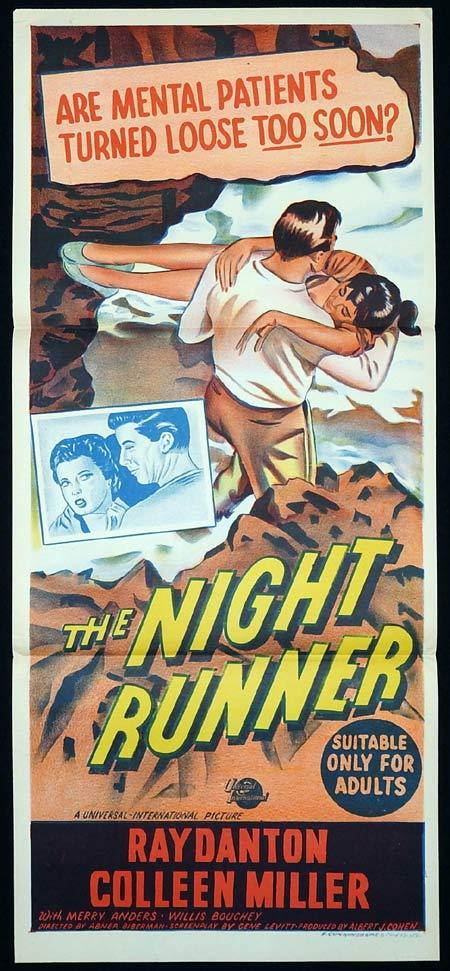 THE NIGHT RUNNER Original Daybill Movie poster Ray Danton Colleen Miller