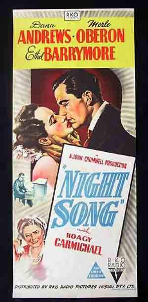 NIGHT SONG Daybill Movie Poster 1948 Hoagy Carmichael Oberon RKO