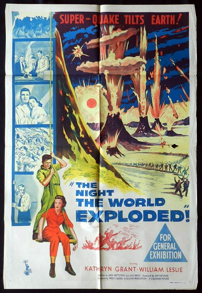 THE NIGHT THE WORLD EXPLODED One Sheet Movie Poster Tristram Coffin Science Fiction
