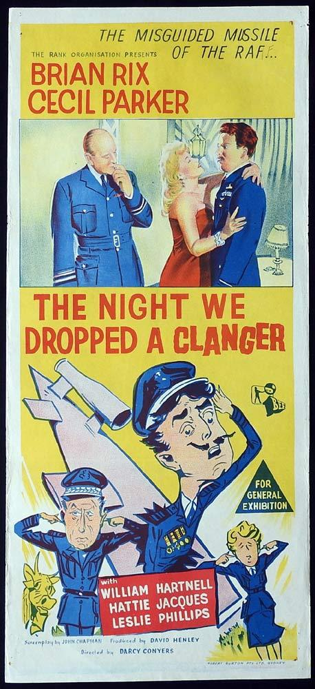 THE NIGHT WE DROPPED A CLANGER Original Daybill Movie Poster Brian Rix Cecil Parker