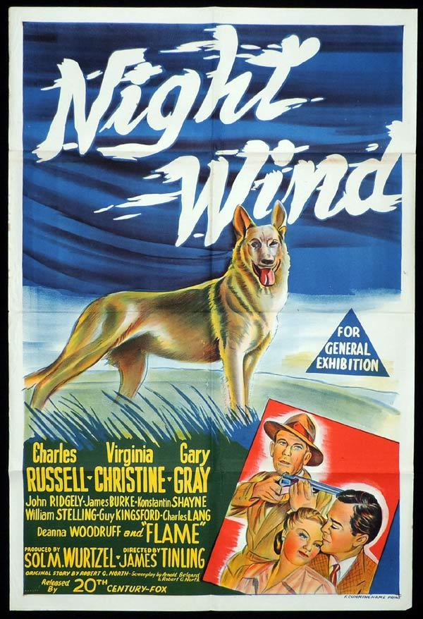 NIGHT WIND One Sheet Movie Poster Charles Russell German Shepherd