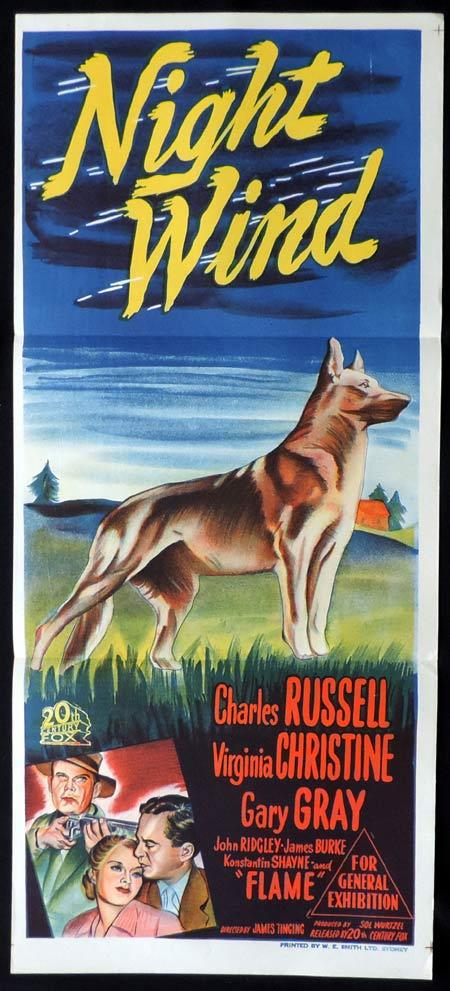 NIGHT WIND Original Daybill Movie Poster Charles Russell German Shepherd