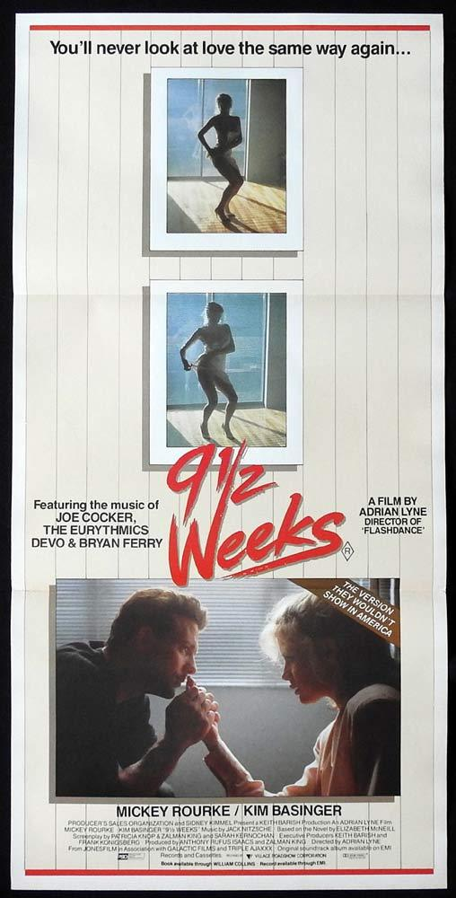 9½  WEEKS Original Daybill Movie poster MICKEY ROURKE Kim Basinger Karen Young