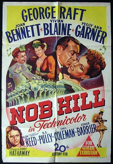 NOB HILL-George Raft HAND LITHO original one sheet poster