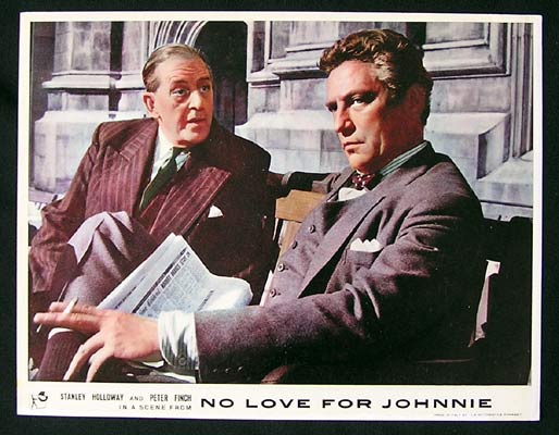 NO LOVE FOR JOHNNIE 1961 Peter Finch Lobby Card 2