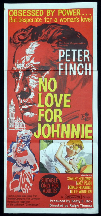 NO LOVE FOR JOHNNIE 1961 Peter Finch RARE Daybill Movie poster