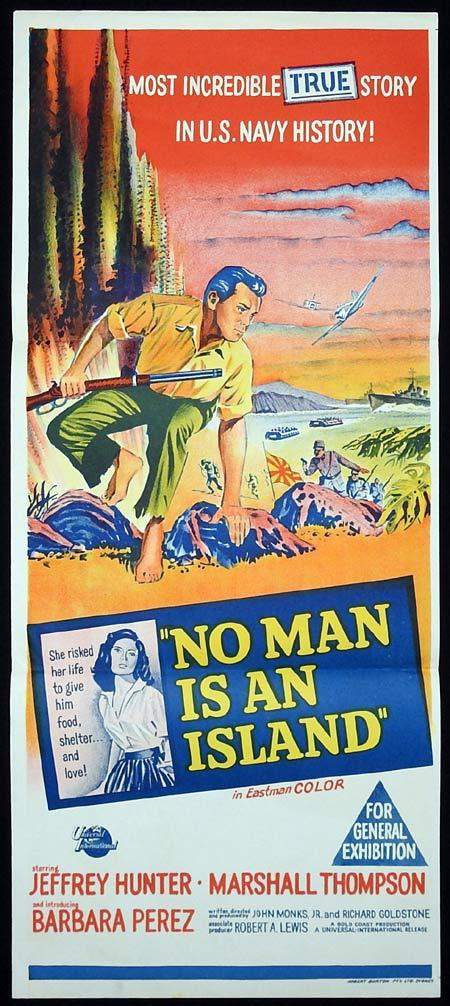 NO MAN IS AN ISLAND Original Daybill Movie poster Jeffrey Hunter Marshall Thompson