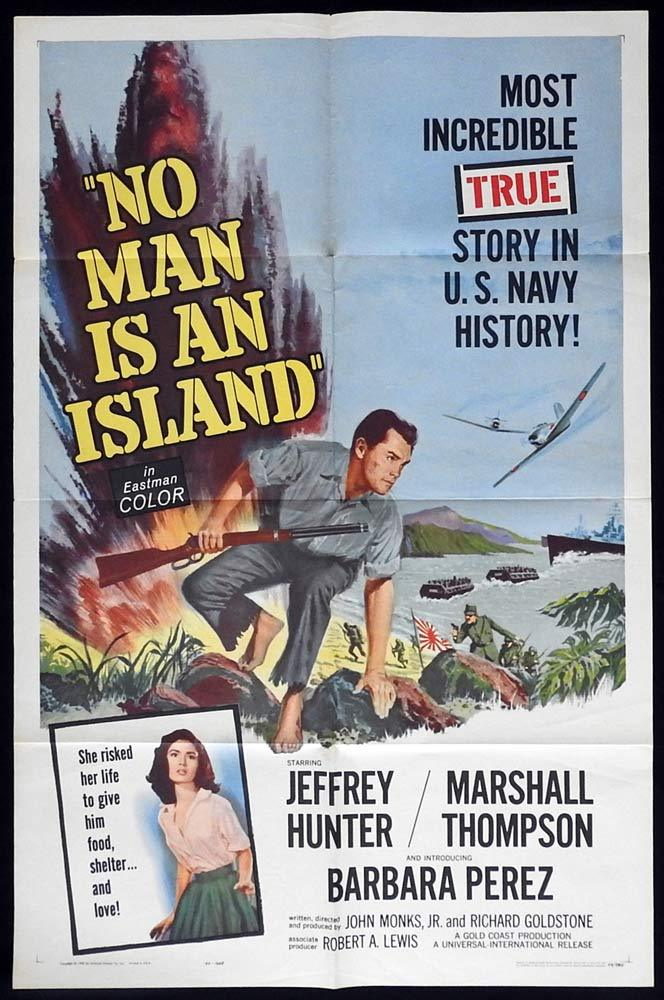 NO MAN IS AN ISLAND Original One sheet Movie poster Jeffrey Hunter Marshall Thompson