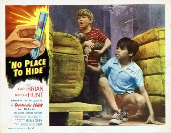 NO PLACE TO HIDE 1956 Lobby Card 2 David Brian Marsha Hunt