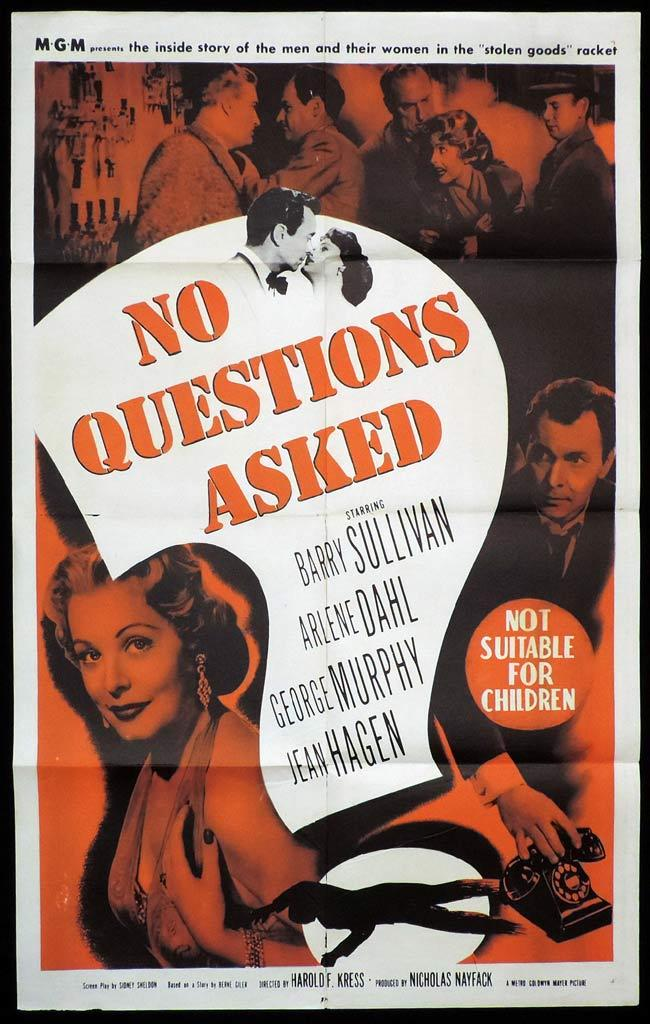 NO QUESTIONS ASKED Original One sheet Movie Poster Barry Sullivan FILM NOIR Arlene Dahl