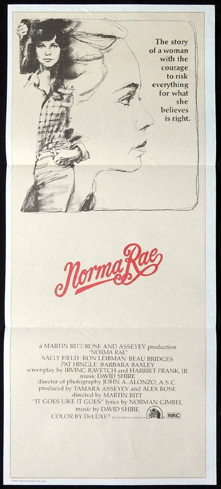 NORMA RAE Original Daybill Movie poster Sally Field Beau Bridges Ron Leibman