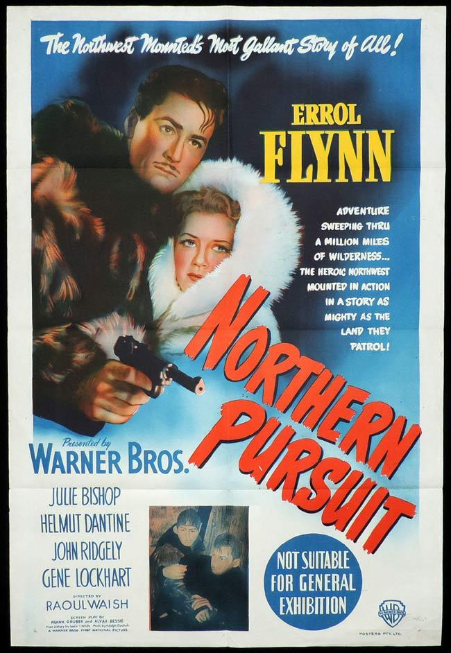 NORTHERN PURSUIT Original One sheet Movie Poster ERROL FLYNN