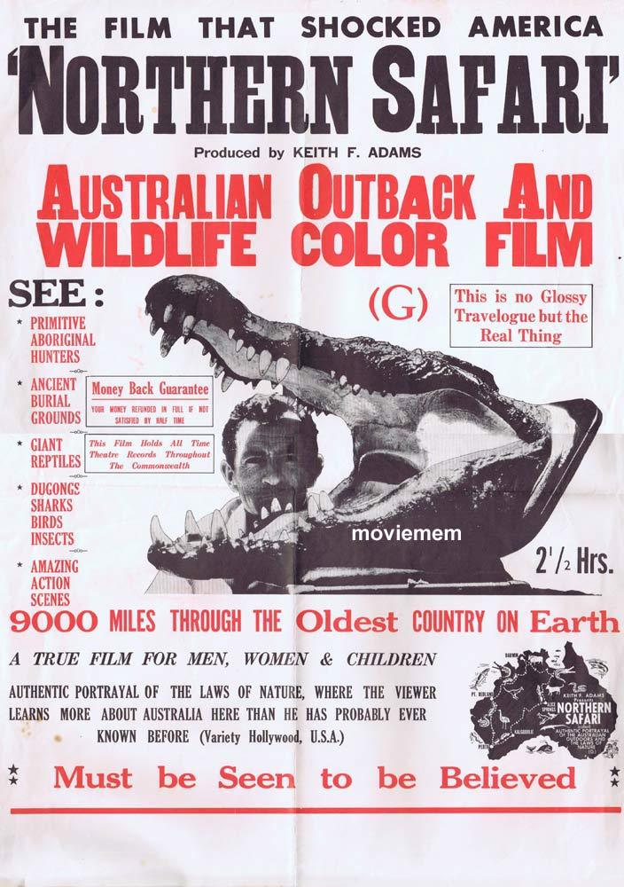 NORTHERN SAFARI Original 70s Movie Poster Keith Adams Australian Outback