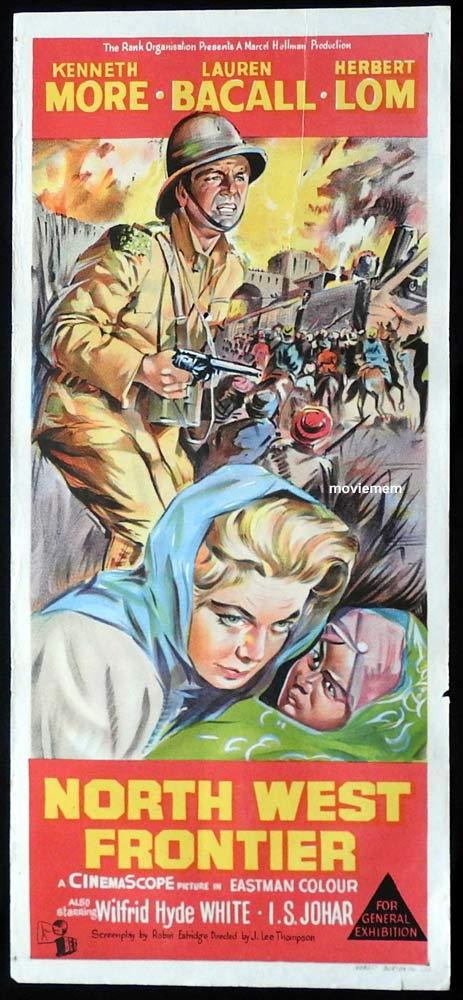 NORTH WEST FRONTIER Original Daybill Movie Poster Kenneth More Lauren Bacall Herbert Lom