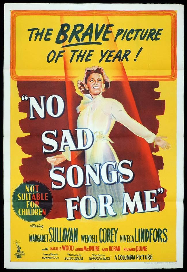 NO SAD SONGS FOR ME Original One sheet Movie Poster Margaret Sullavan Wendell Corey Natalie Wood