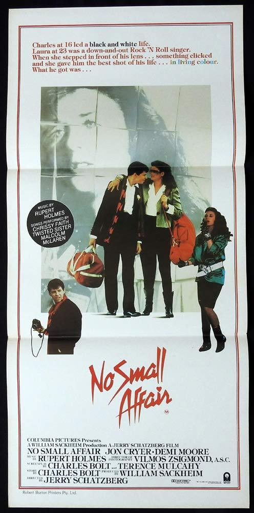 NO SMALL AFFAIR Original Daybill Movie poster Jon Cryer Demi Moore