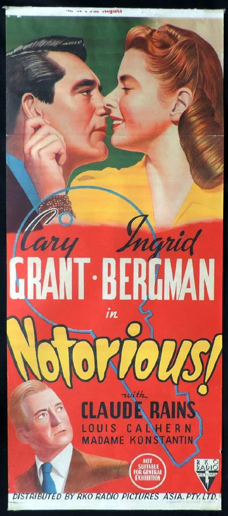 NOTORIOUS Original Daybill Movie Poster Cary Grant Ingrid Bergman Alfred Hitchcock