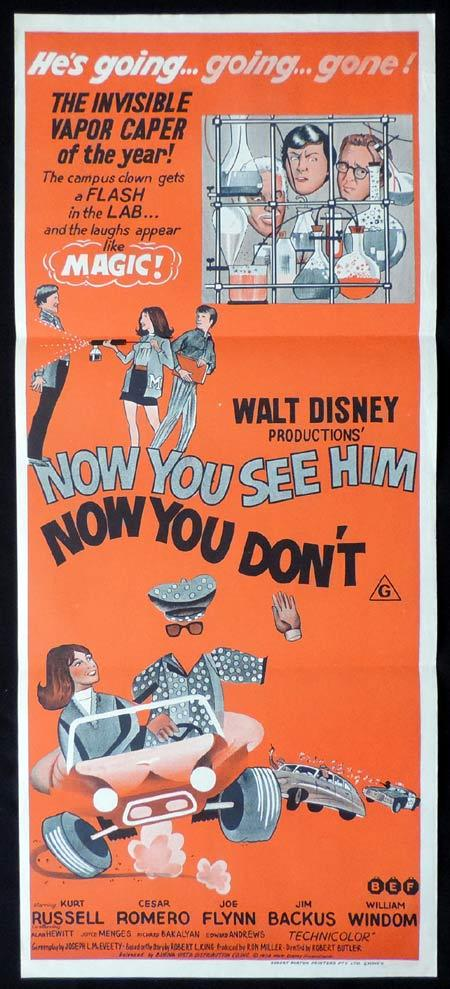 NOW YOU SEE HIM NOW YOU DON'T Original Daybill Movie Poster Diseny urt Russell