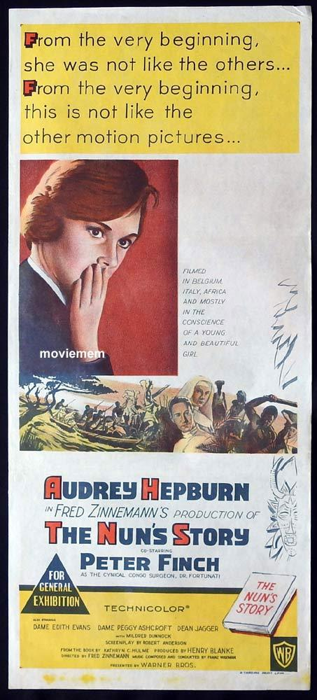 THE NUNS STORY Original Daybill Movie Poster Audrey Hepburn Peter Finch Edith Evans