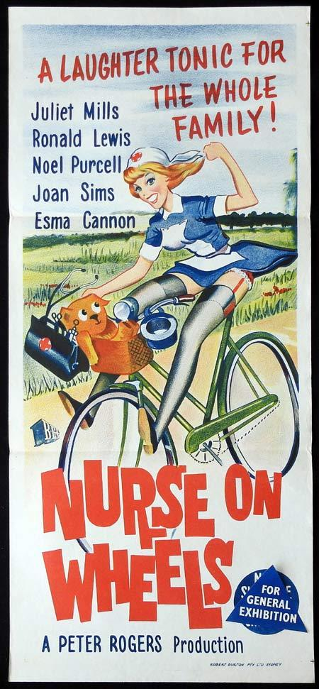 NURSE ON WHEELS Original Daybill Movie Poster Juliet Mills Ronald Lewis Joan Sims