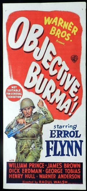 OBJECTIVE BURMA 1945 Errol Flynn Original Australian Daybill Movie poster