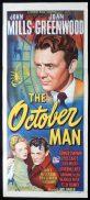 THE OCTOBER MAN Original Daybill Movie Poster John Mills Joan Greenwood
