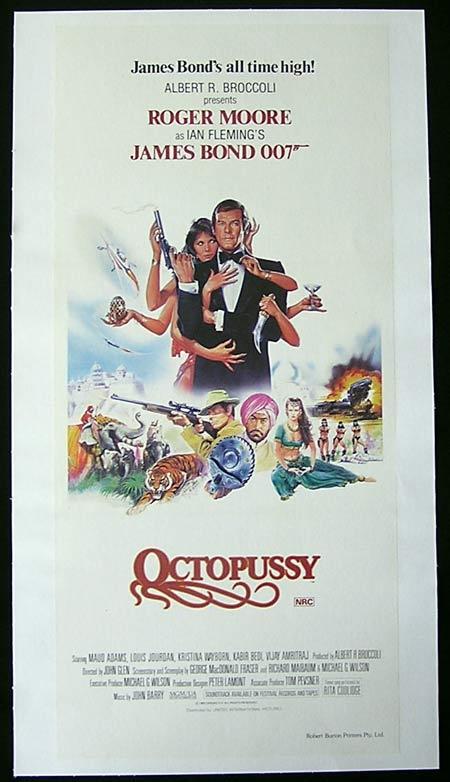 OCTOPUSSY 1983 James Bond Original LINEN BACKED Daybill Movie poster