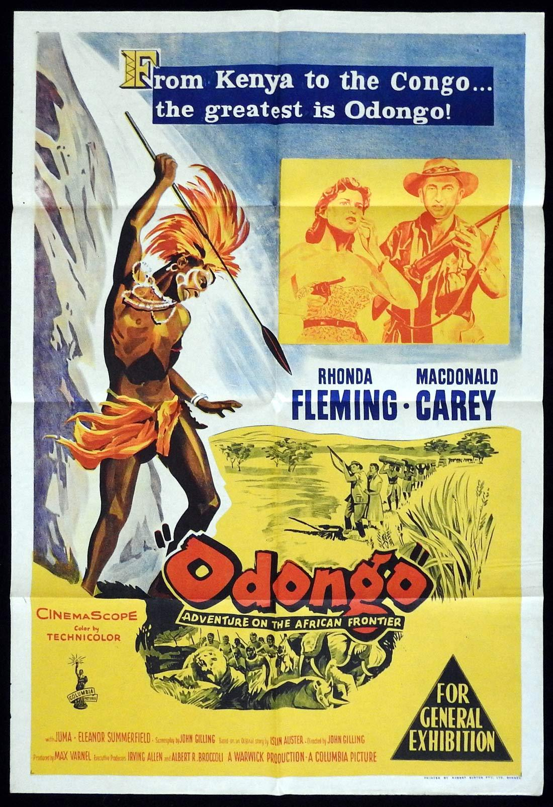 ODONGO Original One sheet Movie poster  Rhonda Fleming Macdonald