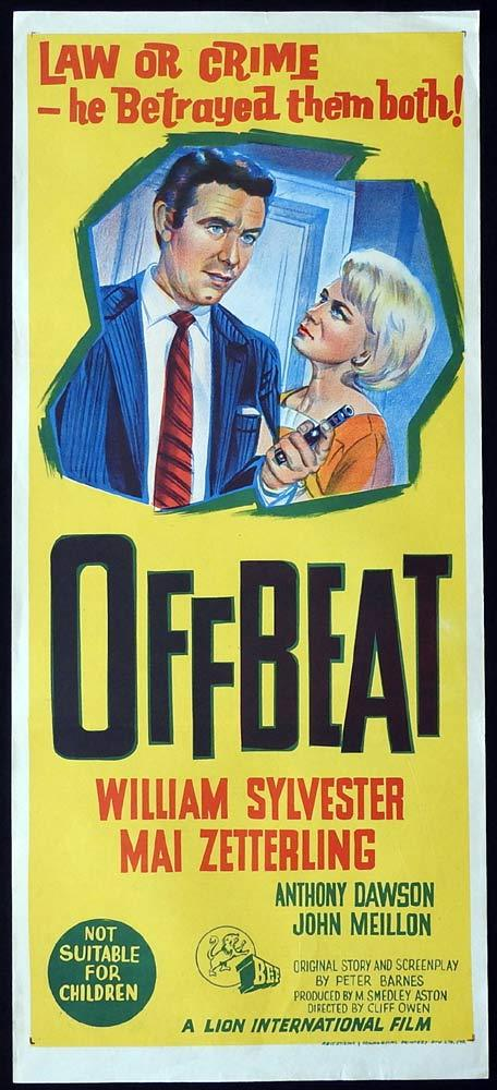 OFFBEAT Original Daybill Movie Poster William Sylvester Film Noir