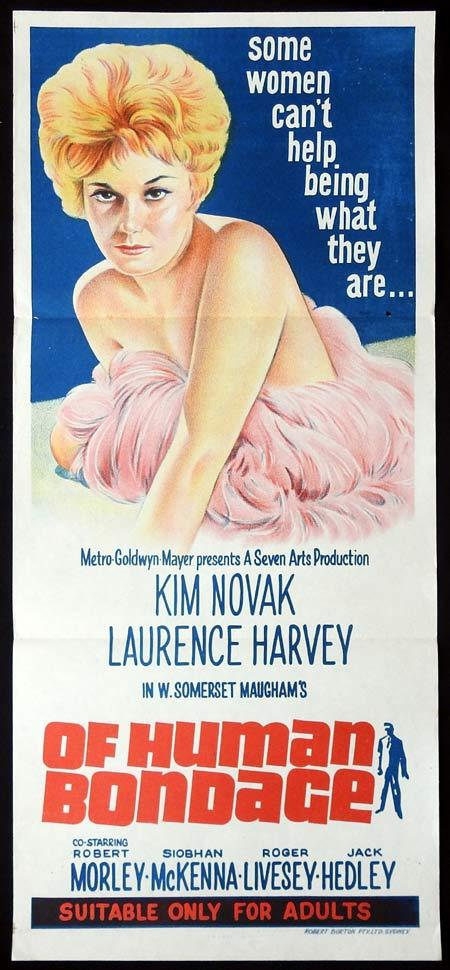 OF HUMAN BONDAGE Original Daybill Movie Poster KIM NOVAK Laurence Harvey