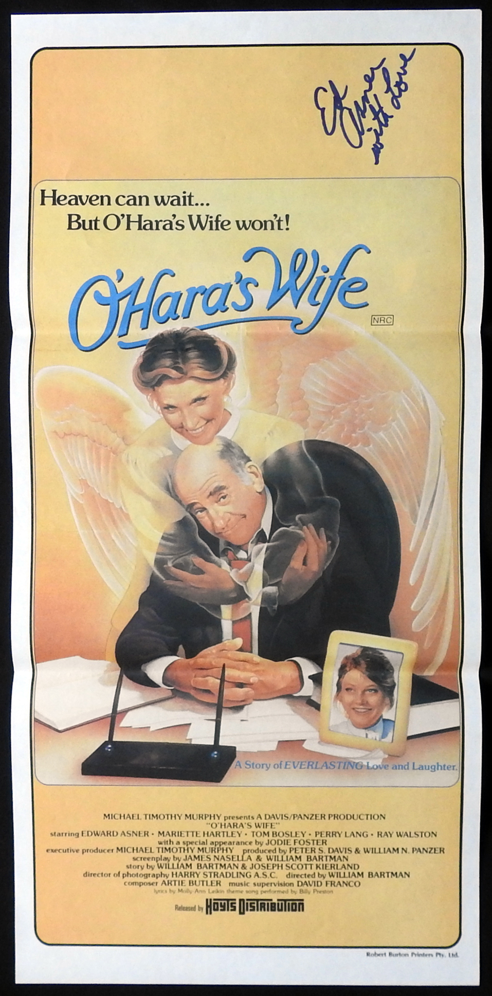 O'HARA'S WIFE Original Daybill Movie Poster Autograph Ed Asner
