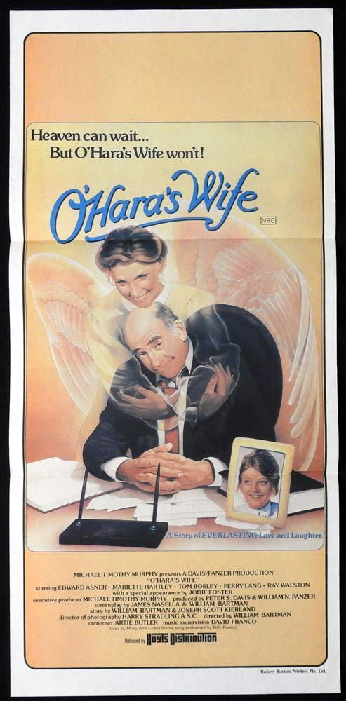 O'HARAS WIFE Daybill Movie poster Ed Asner Mariette Hartley Jodie Foster Ghost