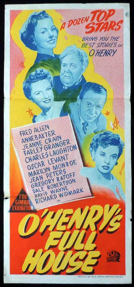 O.HENRY'S FULL HOUSE Original Daybill Movie Poster Marilyn Monroe O'Henry